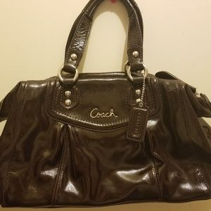 Coach Satchel Ashley Patent Brown Leather F20460